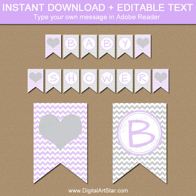 girl baby shower banner with gray chevron - easy party decorations