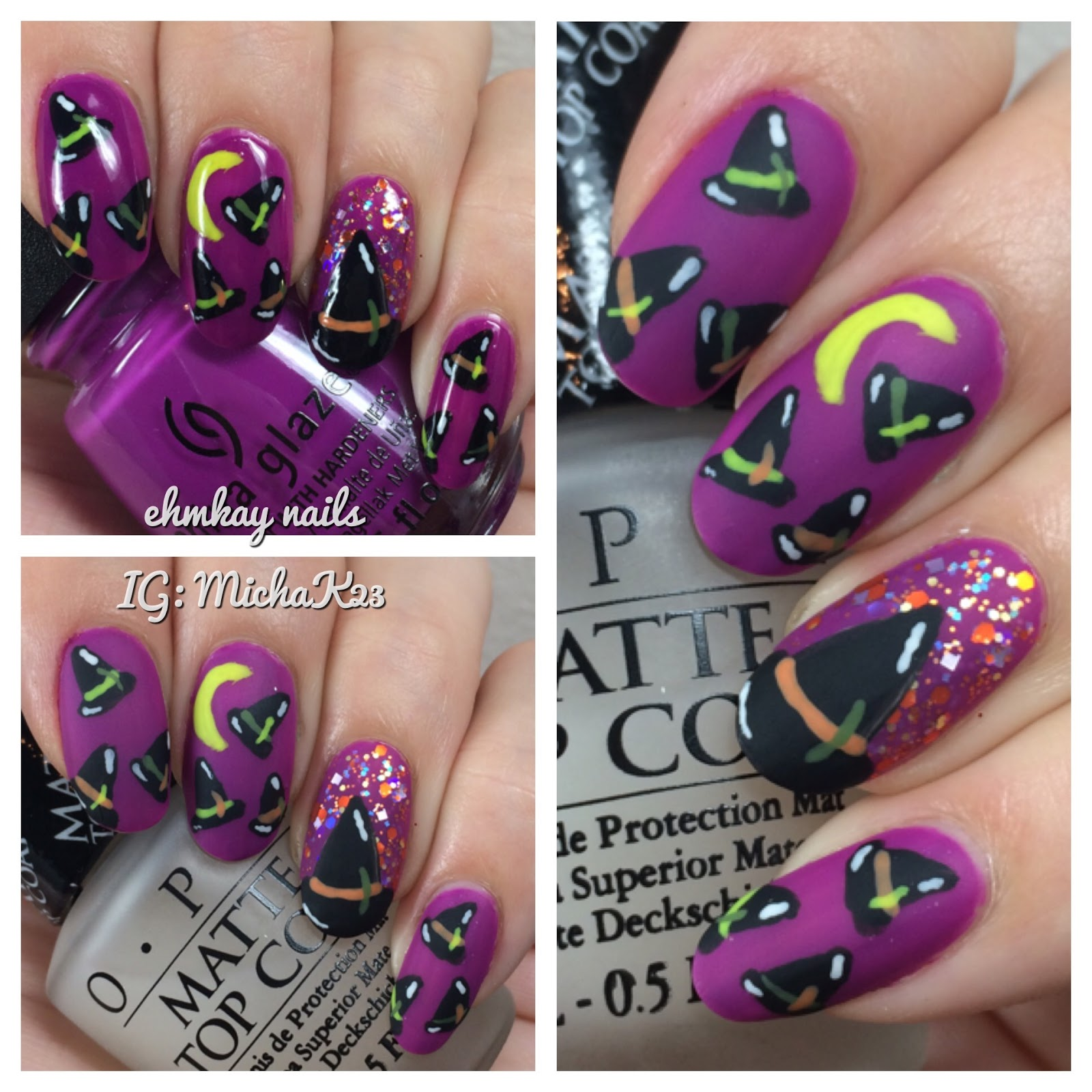 Ehmkay Nails Witch Hats Halloween Nail Art
