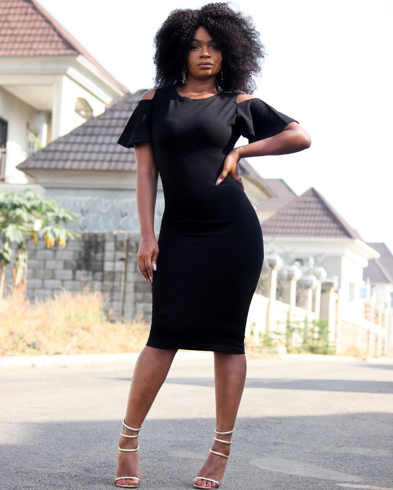 BLACK COLD SHOULDER DRESS - Jumia Black Cold Shoulder Dress with Public Desire Sandals