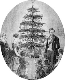 Christmas tree at Windsor Castle from The Illustrated London News Christmas supplement (1848)