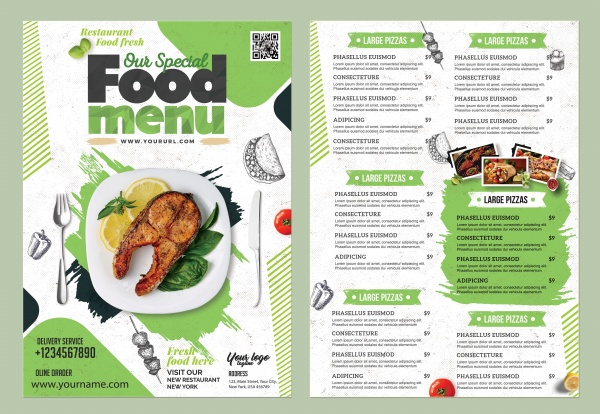 Featured food menu front and back template design