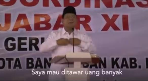 Geger Pidato Prabowo: Saya Mau Ditawar Uang Banyak untuk Jangan Calon