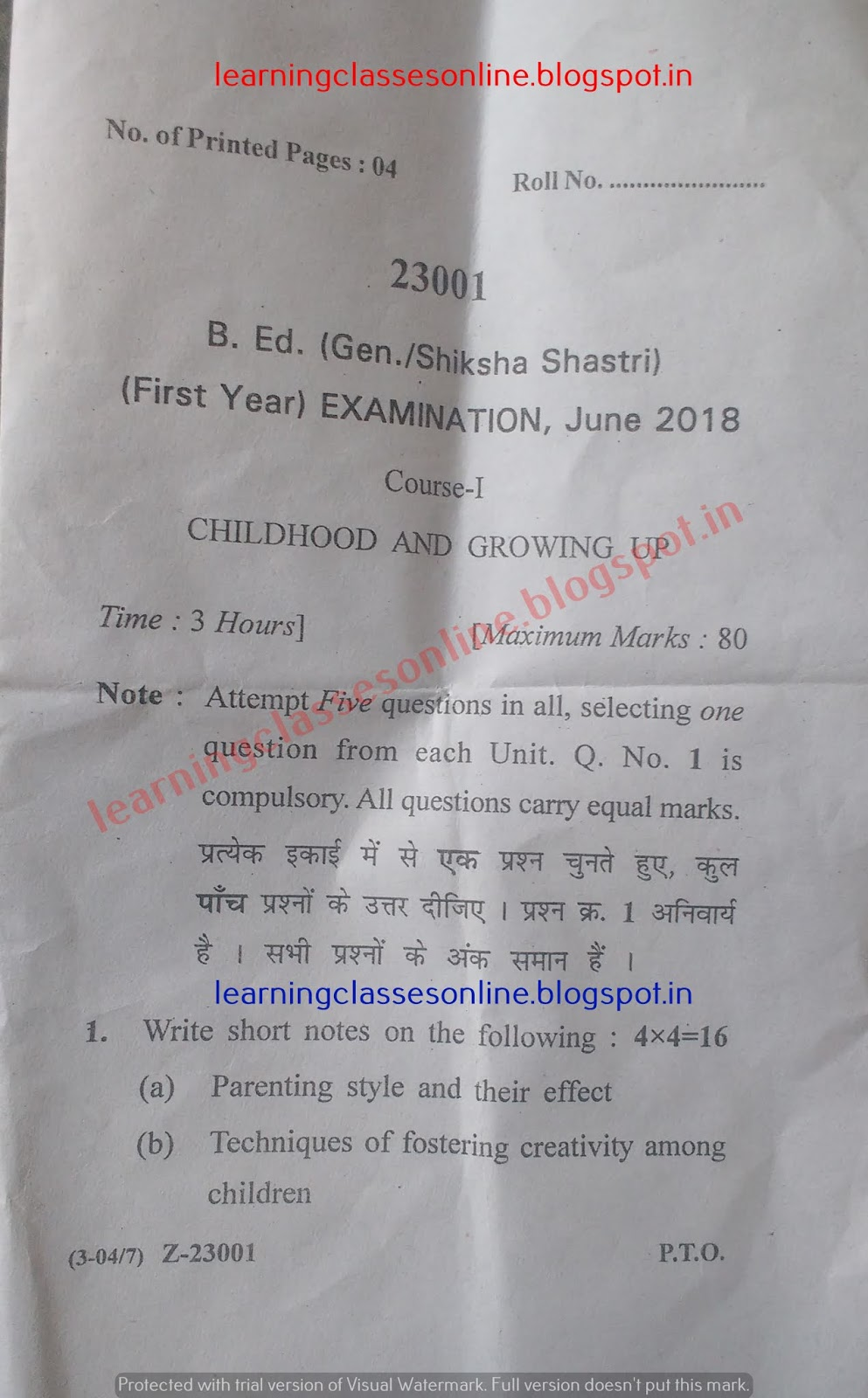 Childhood and Growing up 2018 question Paper