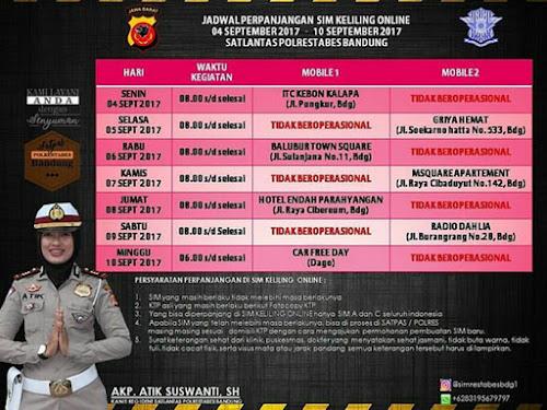 Jadwal SIM Keliling Online Polrestabes Bandung Bulan September 2017