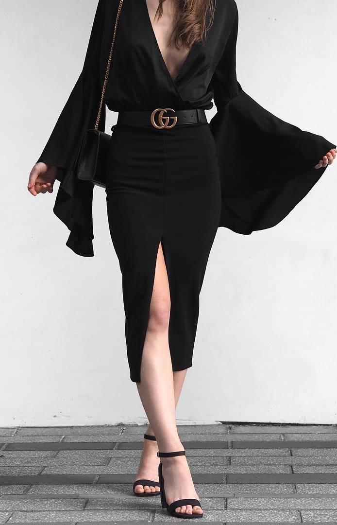 trendy black outfit idea / blouse + pencil skirt + bag + heels