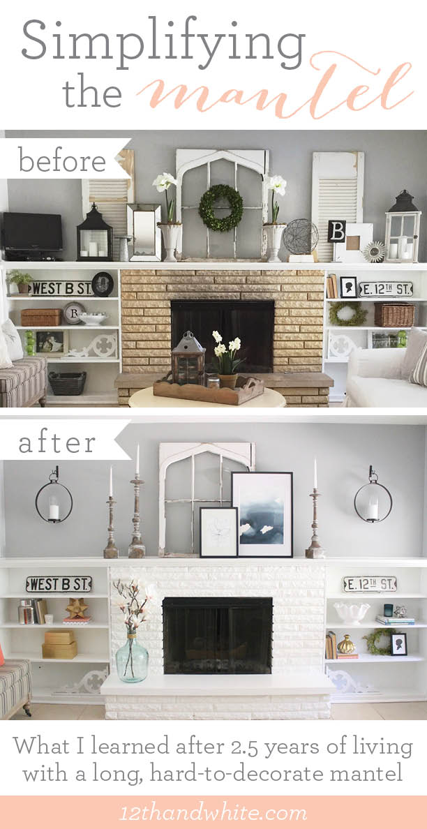 How To Decorate A Long Mantel Before And After