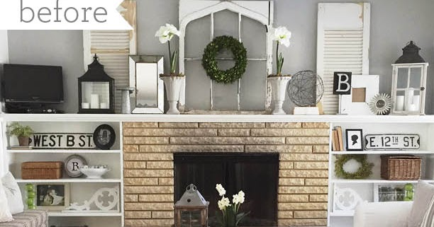 12th And White How To Decorate A Long Mantel A Before And After