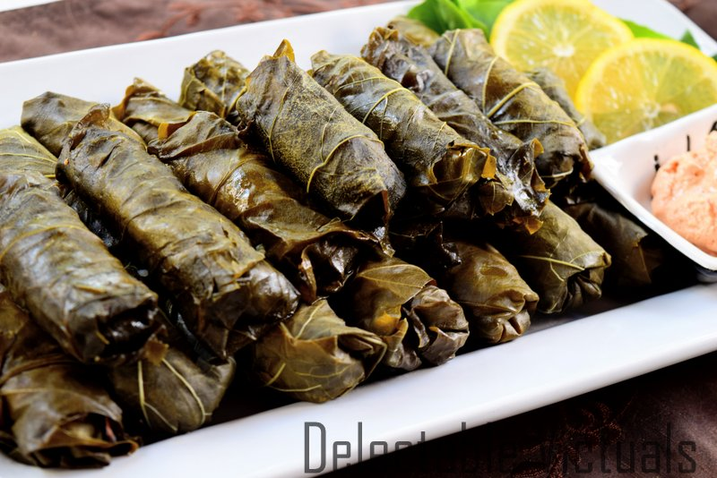 Dolma: Stuffed Grape Leaf Snack with brown Rice