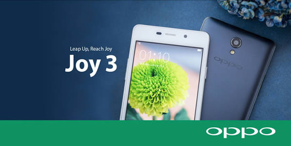 Oppo Joy 3 Specifications - LAUNCH Announced 2015, June DISPLAY Type IPS LCD capacitive touchscreen, 16M colors Size 4.5 inches (~63.1% screen-to-body ratio) Resolution 480 x 854 pixels (~218 ppi pixel density) Multitouch Yes  - ColorOS 2.0 UI BODY Dimensions 132.8 x 66.6 x 9 mm (5.23 x 2.62 x 0.35 in) Weight 135 g (4.76 oz) SIM Dual SIM (Micro-SIM, dual stand-by) PLATFORM OS Android OS, v4.4 (KitKat) CPU Quad-core 1.3 GHz Cortex-A7 Chipset Mediatek MT6582 GPU Mali-400MP2 MEMORY Card slot microSD, up to 32 GB (dedicated slot) Internal 4 GB, 1 GB RAM CAMERA Primary 5 MP, autofocus, LED flash Secondary 2 MP Features Geo-tagging, HDR, panorama Video 720p NETWORK Technology GSM / HSPA 2G bands GSM 850 / 900 / 1800 / 1900 - SIM 1 & SIM 2 3G bands HSDPA 850 / 900 / 2100 Speed HSPA GPRS Yes EDGE Yes COMMS WLAN Wi-Fi 802.11 b/g/n, hotspot GPS Yes, with A-GPS USB microUSB v2.0, USB Host Radio FM radio Bluetooth v4.0, A2DP, EDR Features Sensors  FEATURES Sensors Accelerometer, proximity Messaging SMS (threaded view), MMS, Email, Push Email Browser HTML5 Java No SOUND Alert types Vibration; MP3, WAV ringtones Loudspeaker Yes 3.5mm jack Yes BATTERY  Removable Li-Po 2000 mAh battery Stand-by  Talk time  Music play  MISC Colors White, Gray  - MP4/H.264/FLAC player - MP3/eAAC+/WAV player - Document viewer - Photo/video editor