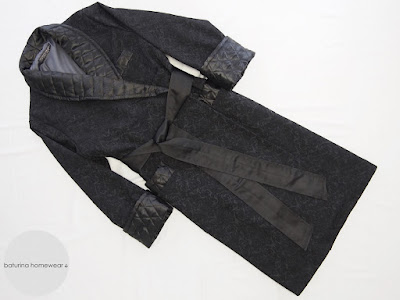 Classic luxury black paisley quilted silk robe with cotton lining for men.