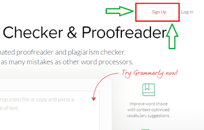 Sign up Grammarly