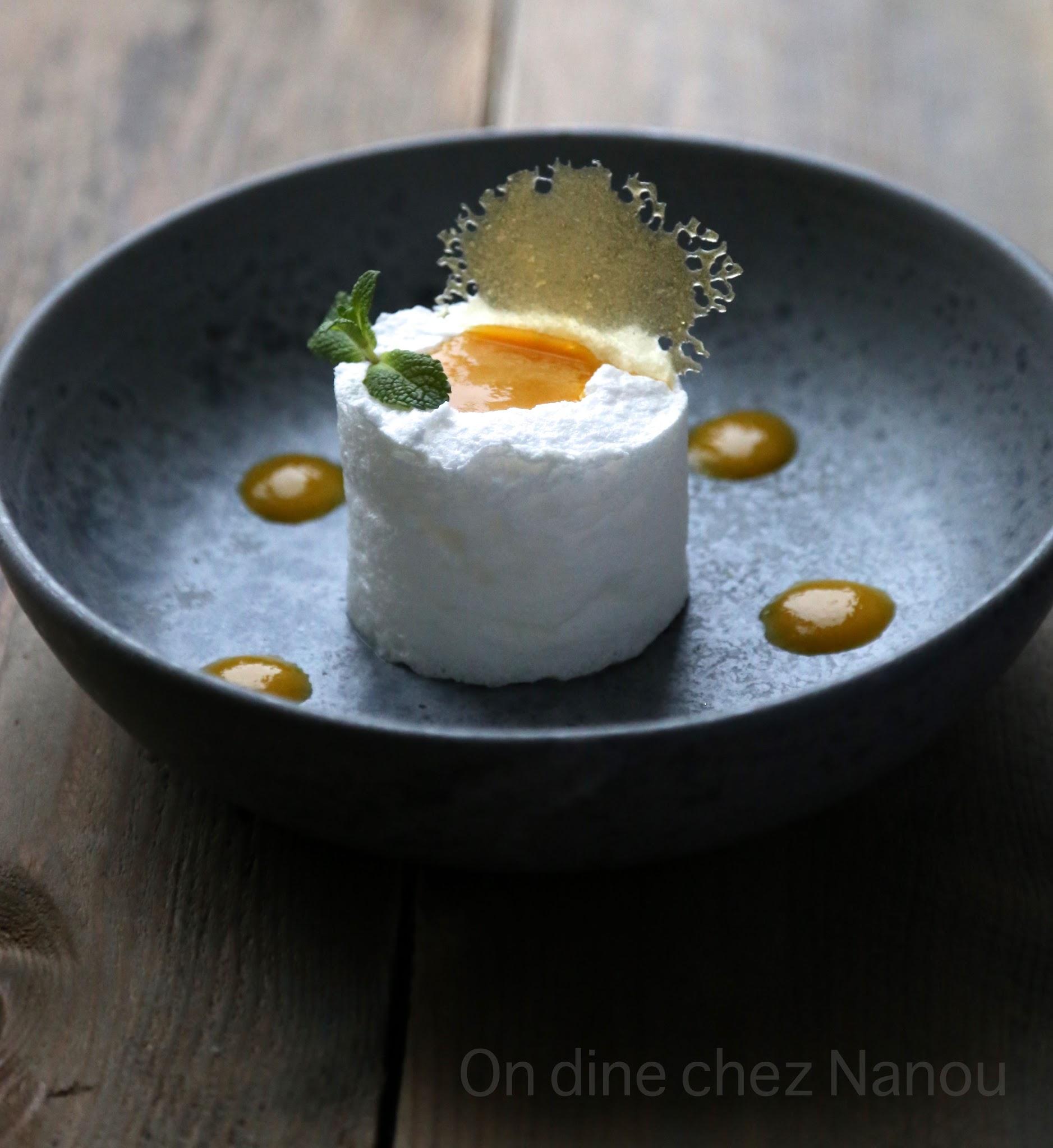 oeuf en neige , dessert léger , mangue , Chrsitophe Adam