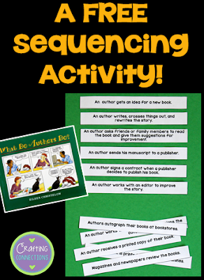Read aloud What Do Authors Do?, and then have your upper elementary students sequence the story-writing process using this FREE printable!