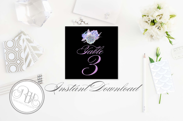Lilac Purple & Mint Succulent table numbers Template