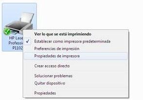 Propiedades de impresión en Windows.