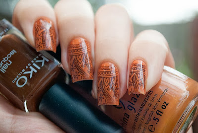 Stamping Art with China Glaze Desert Sun & Kiko 323 &  Cheeky  plate