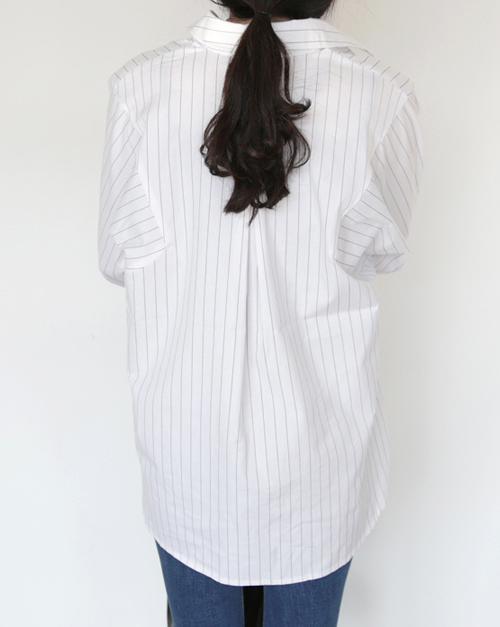 Curved Hairline Stripe Button-Down Blouse
