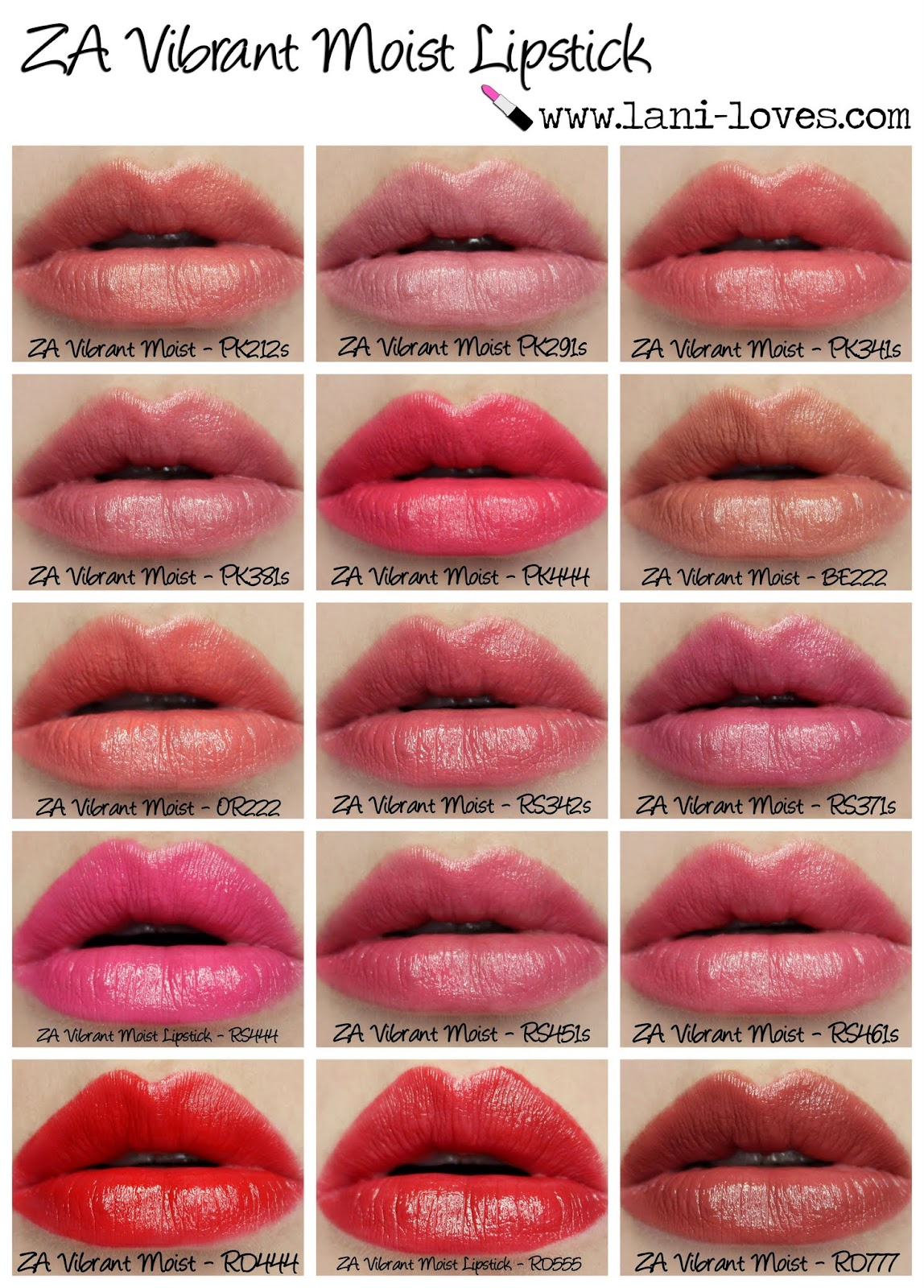 ZA Vibrant Moist Lipstick - Complete Collection Swatches & Review