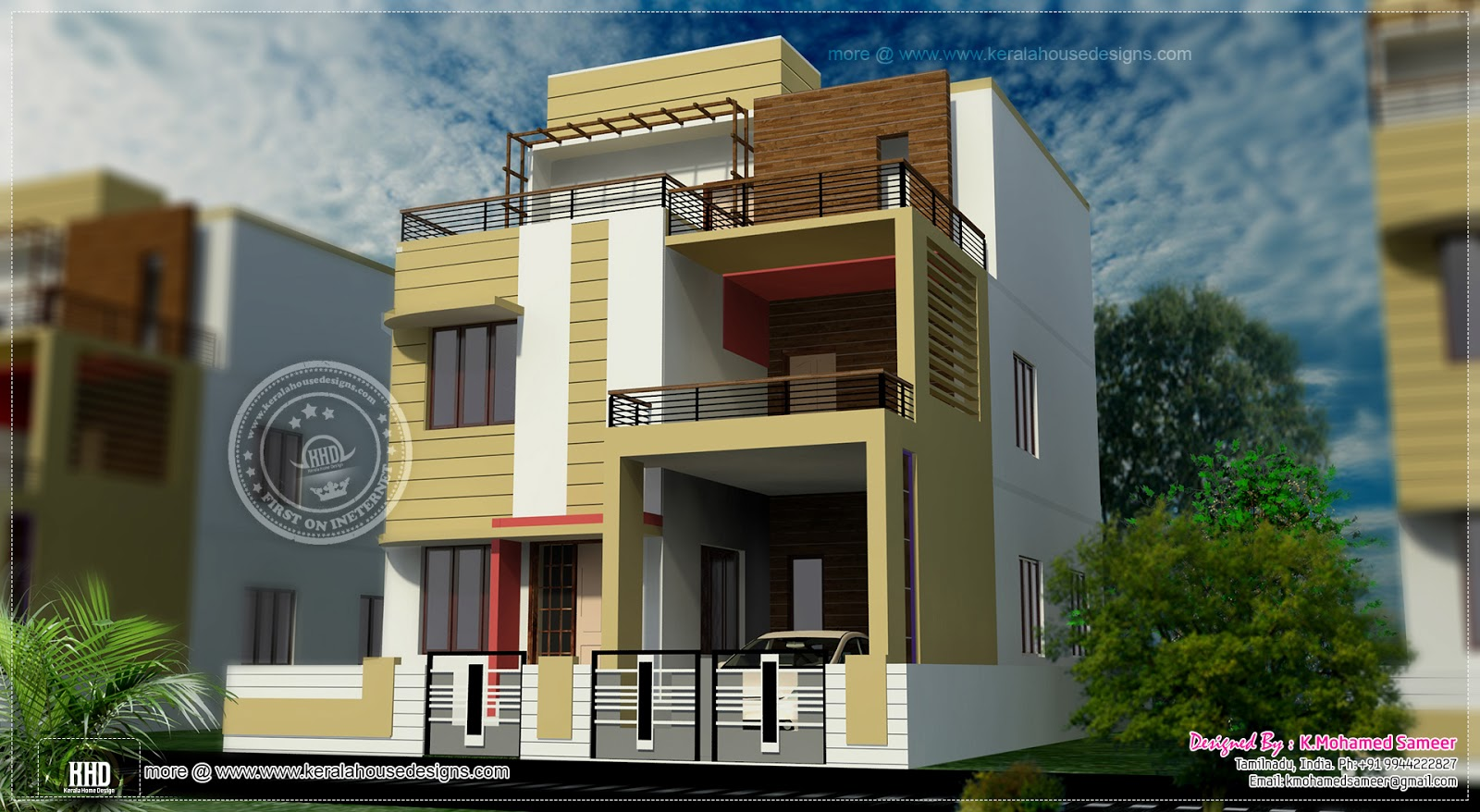 3 story house plan design in 2626 kerala home for Tamilnadu house designs photos