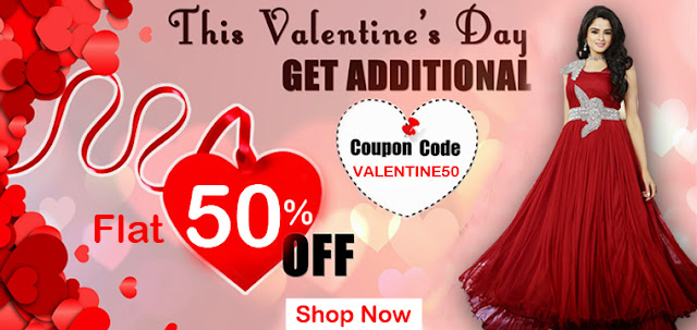 Valentine Day special gift flat 50% Off on sarees salwar suits kurtis online with lowest prices for girls in Surat India