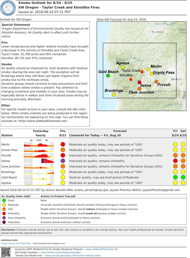smoke outlook update for southwest oregon taylor creek and klondike fires for friday and saturday aug 24 25 2018