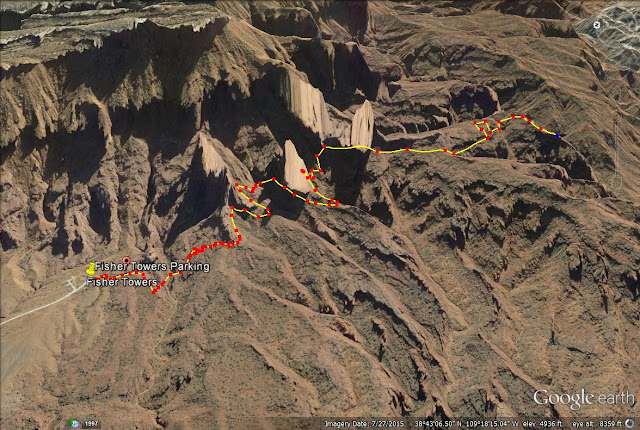 Fisher Towers trail map, Moab, Utah
