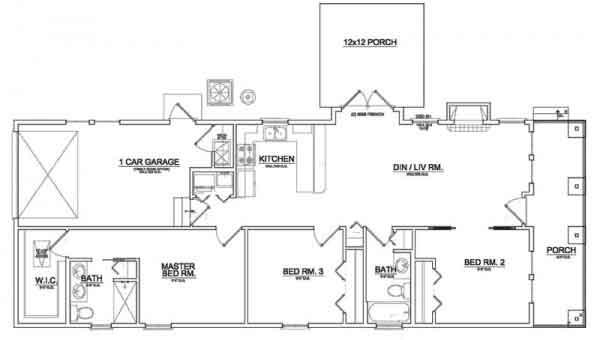 Plano arquitect nico de casa habitaci n de un nivel con for Planos arquitectonicos de casa habitacion