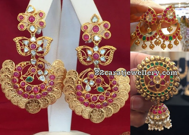 Chandbalis and Large Jhumkas with Pota Rubies