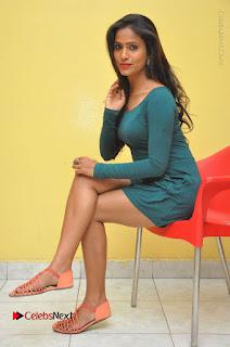 Telugu Actress Prasanthi Stills in Green Short Dress at Swachh Hyderabad Cricket Press Meet  0097.JPG