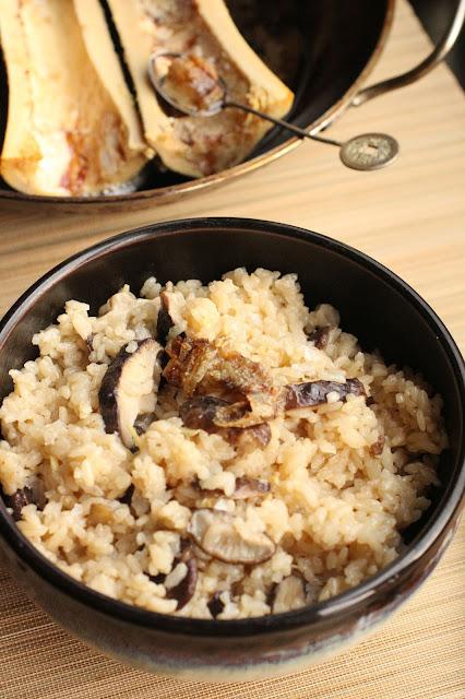 riz japonais gingembre et champignons