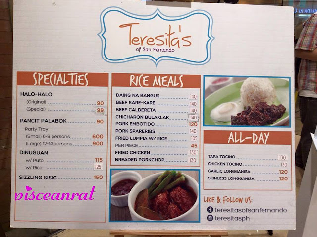 teresita's of san fernando, menu, price list,