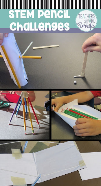 STEM Challenges: PROBLEM: I have ten tons of unsharpened, brand new pencils. SO, I had to invent things to build with them. Check this post for three STEM challenges that use pencils!