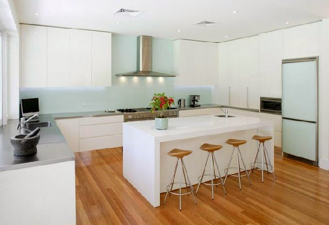 Minimalist Modern White Kitchen with Solid Wood Floor
