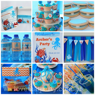 Under the Sea Ocean Birthday Party decoration kit Printable