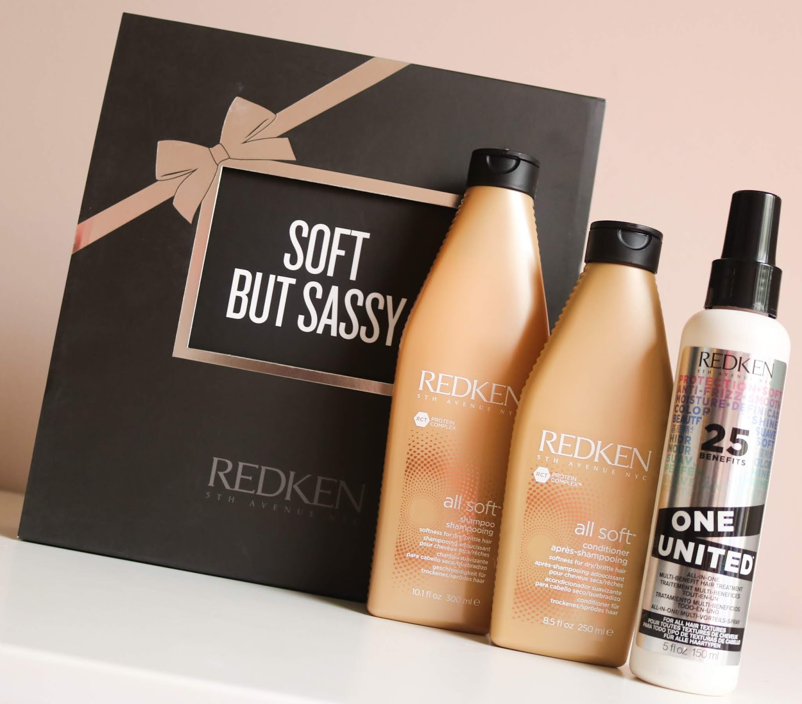 available in redken salons nationwide now the soft but sassy collection comprises of their all soft shampoo all soft conditioner and one united all in one