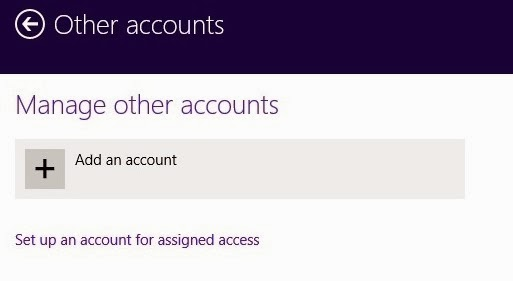 Where can i find new other account open option in Windows 8?
