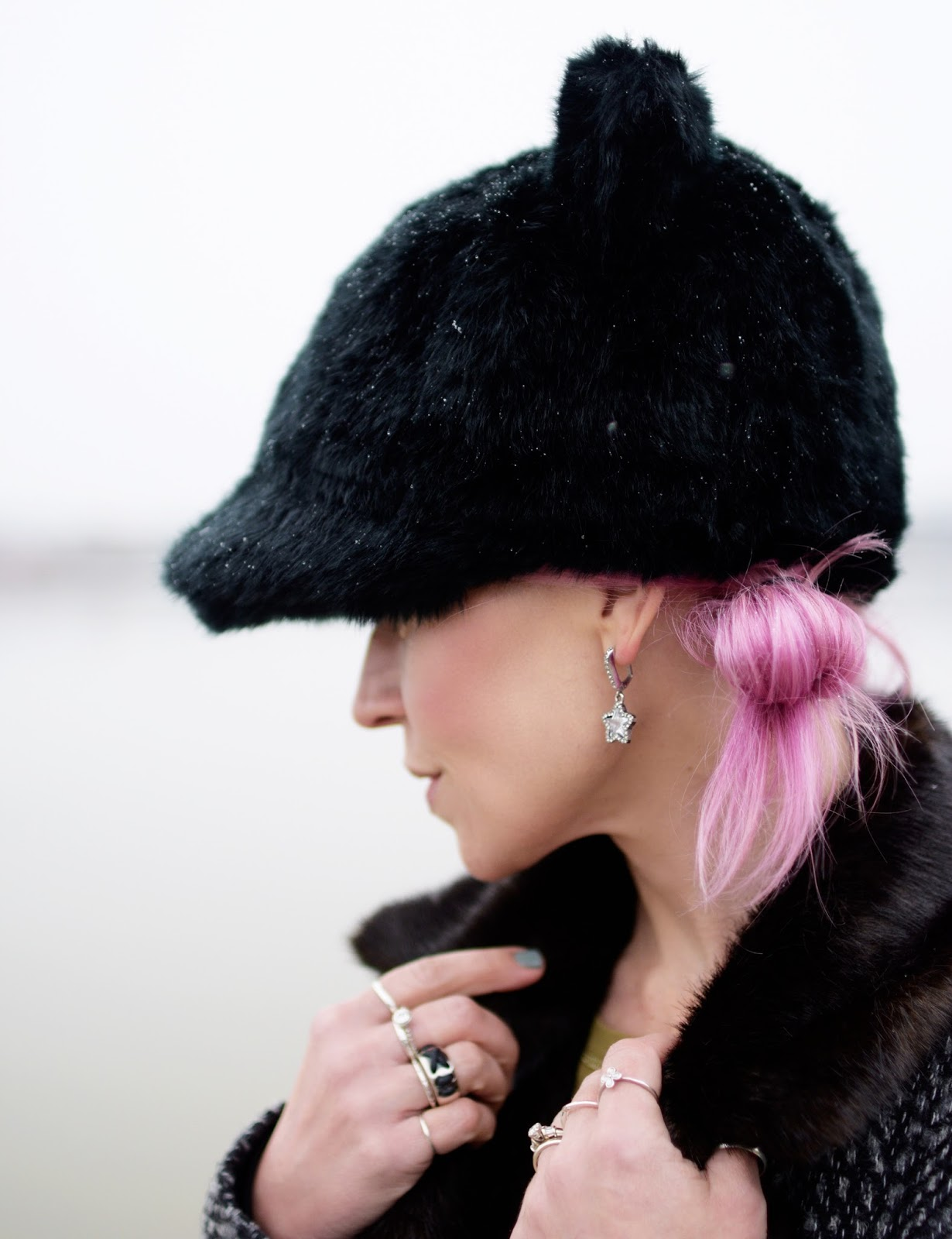 Monika Faulkner outfit inspiration - fur-collared coat, Kate Spade hat with ears, pink hair