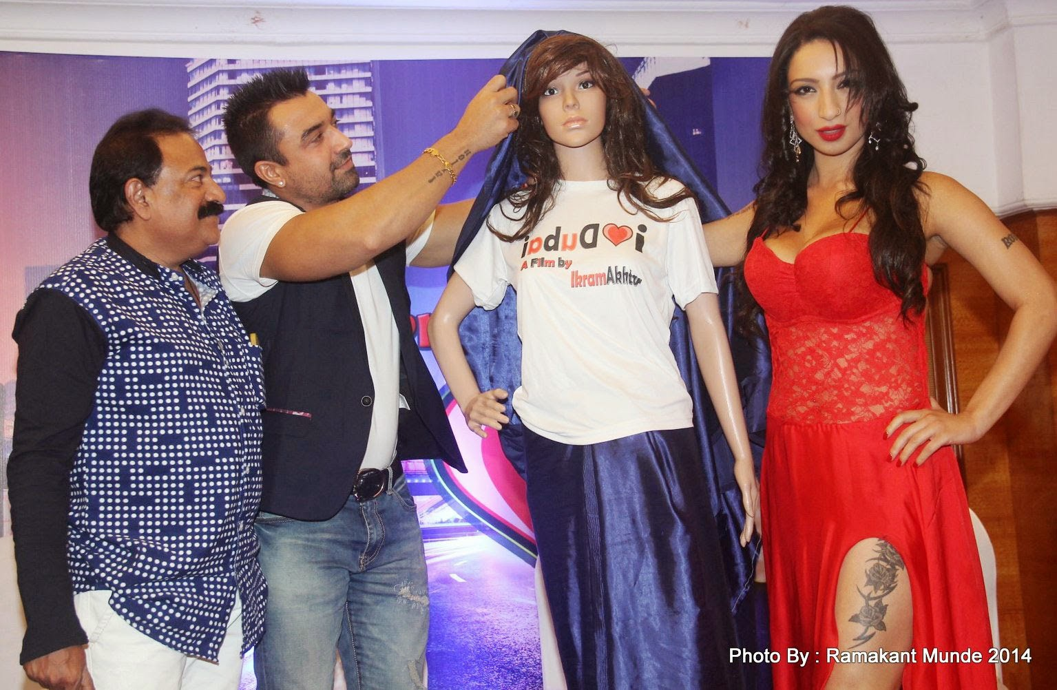 Ajaz Khan and Adult Star Shanti Dynamite at First Look launch of upcoming film 'I Love Dubai'