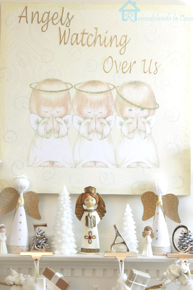 three little angels wall art - Christmas mantel - fireplace - white