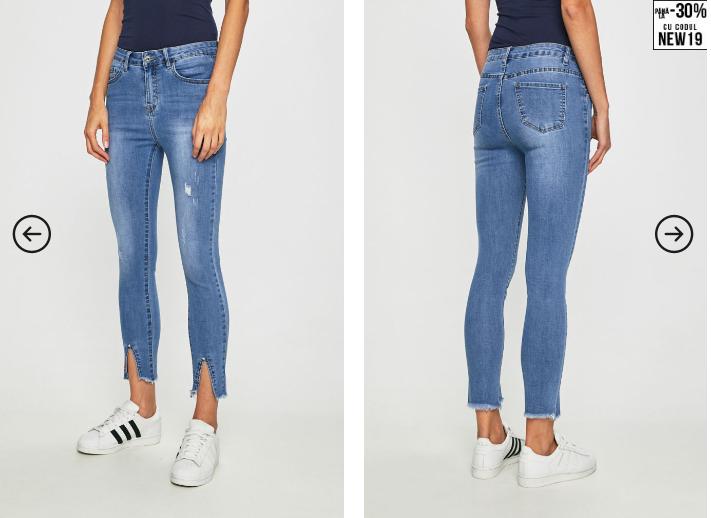 Answear - Jeansi dama moderni albstri ieftini cu crapatura in fata