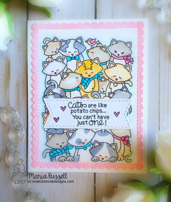 Cat are like potato chips card by Maria Russell | Company of Cats Stamp Set and Frames & Flags die set by Newton's Nook Designs #newtonsnook