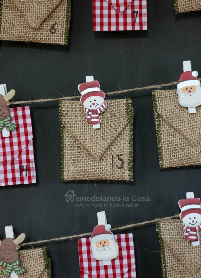24 little ribbon envelopes for Advent calendar