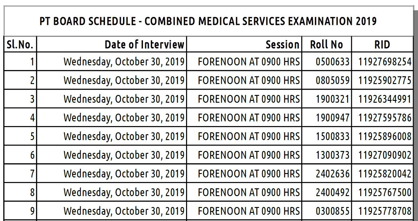 UPSC CMS Examination 2019 Admit Card