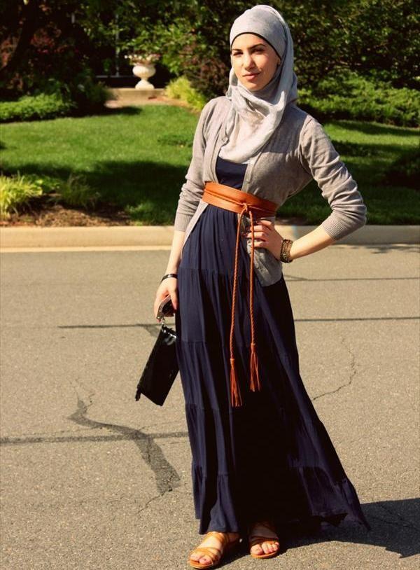 With hijab style islamic clothing