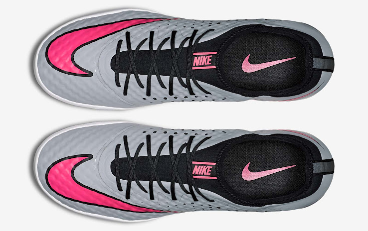 56f76f423e The perforated upper on the outside reveals the black inner of the grey   pink  Nike Mercurial Finale Boots.