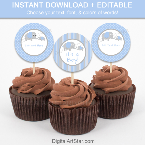 Printable baby shower cupcakes with cute elephants in blue and grey