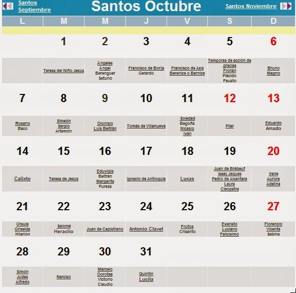 Calendario Con Santos.Semana Santa De Baza Santos Y Santas En El Mes De Octubre De 2013