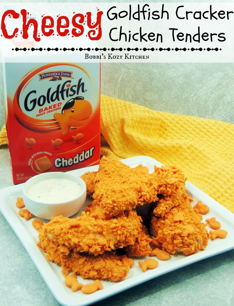 Cheesy Goldfish Cracker Chicken Tenders Bobbi S Kozy Kitchen