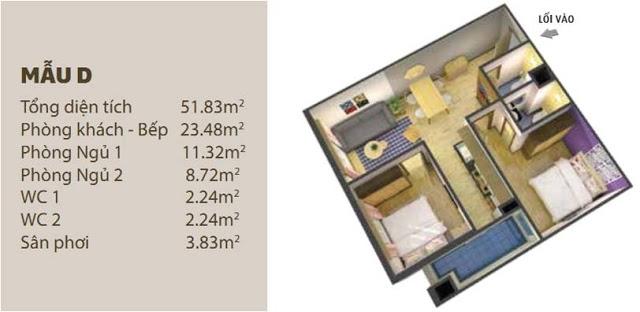 Phối cảnh căn hộ 2 PN Hof-Hqc Hồ Học Lãm