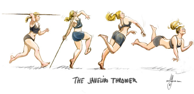 The javelin thrower. Drawing by Ulf Artmagenta